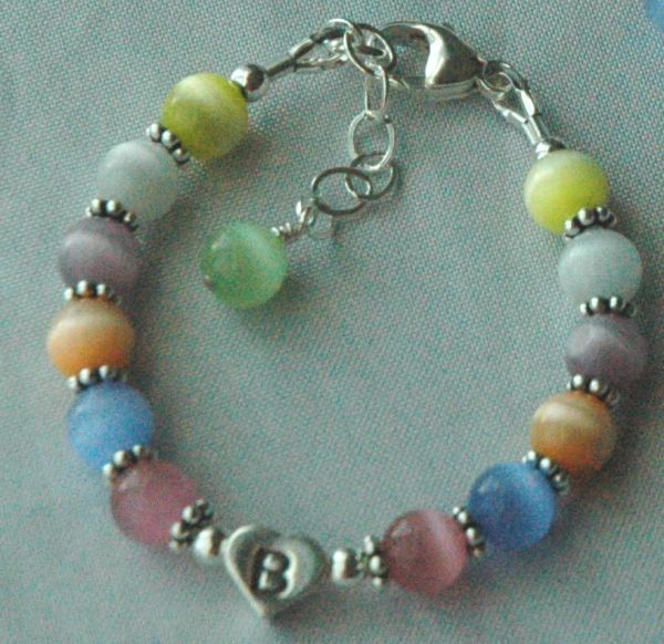 Sterling Silver Initial Heart Multi Colour Cat Eye Children Bracelet, Cat Eye Initial Bracelet