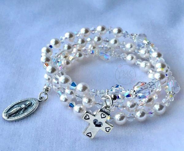 Bride Pearl Crystal Rosary Bracelet, Five Decade Wrap Pearl Rosary Bracelet, Bridal Pearl Pearl Bracelet