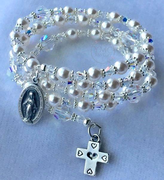 Sterling Silver Bride Pearl Crystal Rosary Bracelet, Five Decade Wrap Pearl Rosary Bracelet, Bridal Pearl Pearl Bracelet