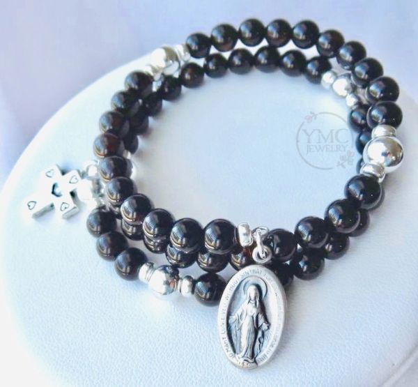 Sterling Silver and Black Onyx Rosary Bracelet, Five Decade Wrap Around Rosary Bracelet, Godmother , First Communion