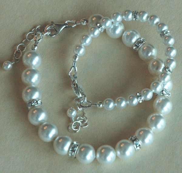 Mother and Daugther Swarovski Crystal Pearls and Sterling Silver Bracelet, Mother Bracelet, Family Bracelet, Mom and Me Jewelry