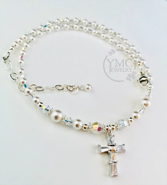 Crystal Cross - Swarovski Crystal Pearl Child Necklace, First Communion, Confirmation, Baptism, Christering
