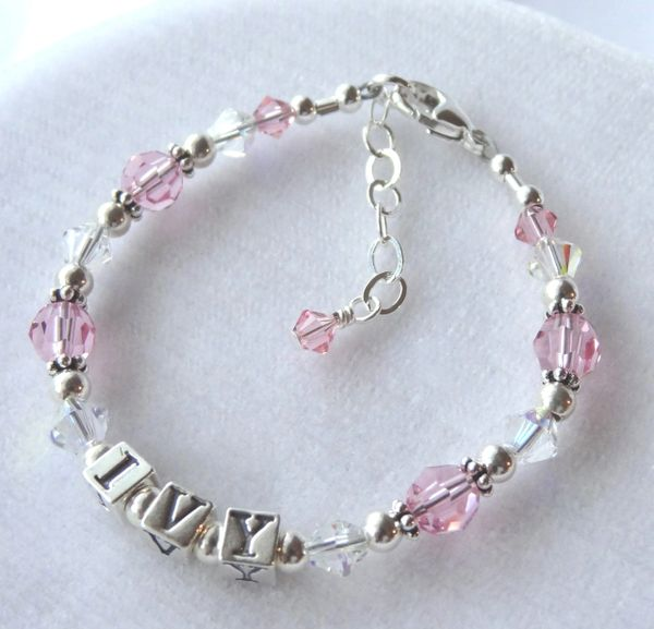 Sterling Silver and Swarovski Crystal Birthstone Name Children Bracelet, Birthstone Bracelet, Baptism Name Bracelet