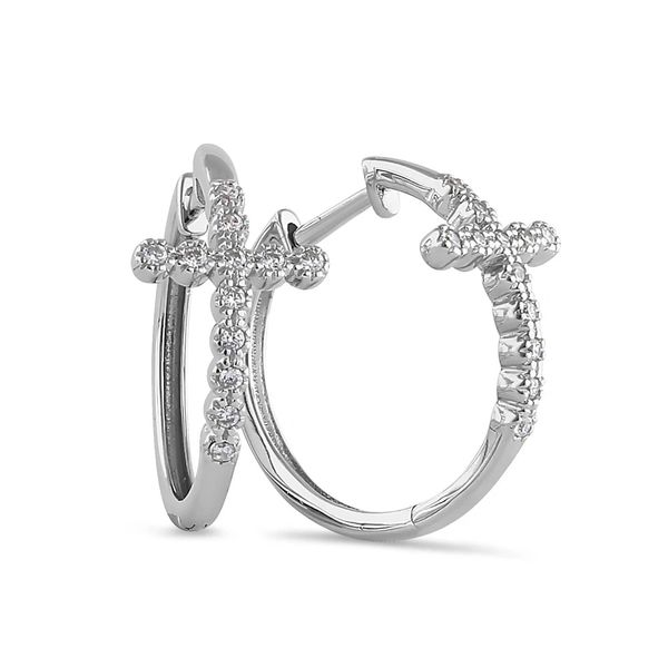 Sterling Silver Cubic Zirconia Cross Hoops Round Earrings