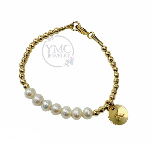 Gold Pearl Stackable Kids Bracelet,Gold Freshwater Pearl Personalized Bracelet For Kids,Dainty Gold Bracelet