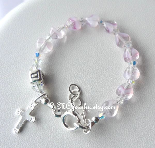 Sterling Silver Baby Girl Pink Heart Baptism Rosary Bracelet, Baptism Bracelet, Initial Bracelet, Christening Bracelet, Baby Girl Bracelet