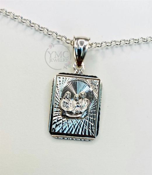 Sterling Silver Baby Boy-Girl Baptism Medal Pendant Necklace