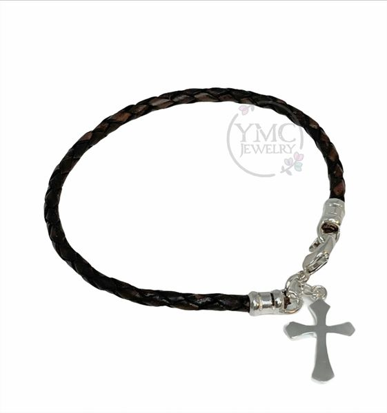Sterling silver boys men's leather cross bracelet