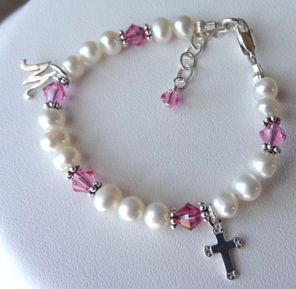 Sterling Silver Initial Freshwater Pearl with Birthstone Swarovski Crystal Children Bracelet, Baptism, Confirmation, Flower Gril Bracelet