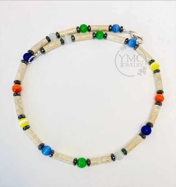 Multicolor and Sterling Silver Necklace Choker - Boy, Kids, Men, Man