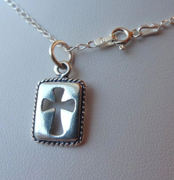 Sterling Silver Holy First Communion Rectangle Cross Boy Kids Necklace