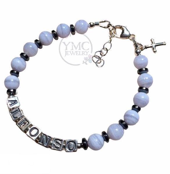 Sterling Silver Baby Boy Blue Name Baptism Bracelet,Boy ID Blue Agate Bracelet