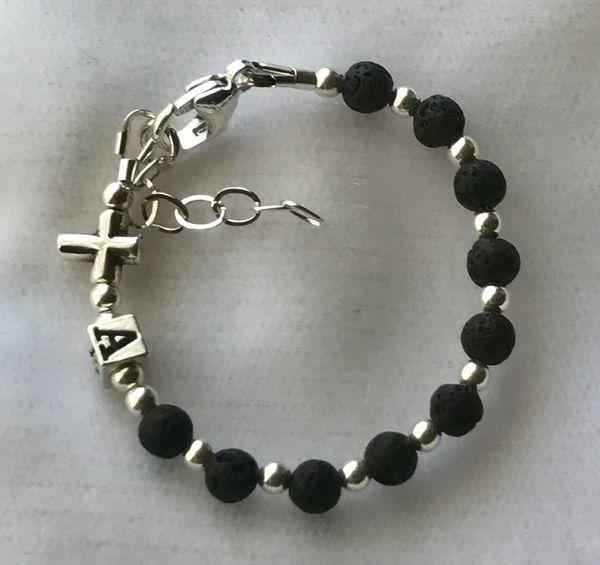Personalized Baby Boy Baptism Black Rosary Bracelet,Initial Baby Rosary Bracelet