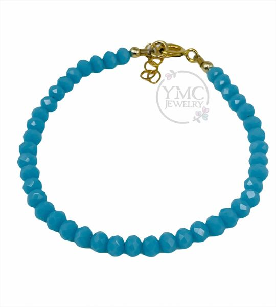 Gold Dainty Layering Stackable Blue Crystal Kids Toddler Girls Bracelet