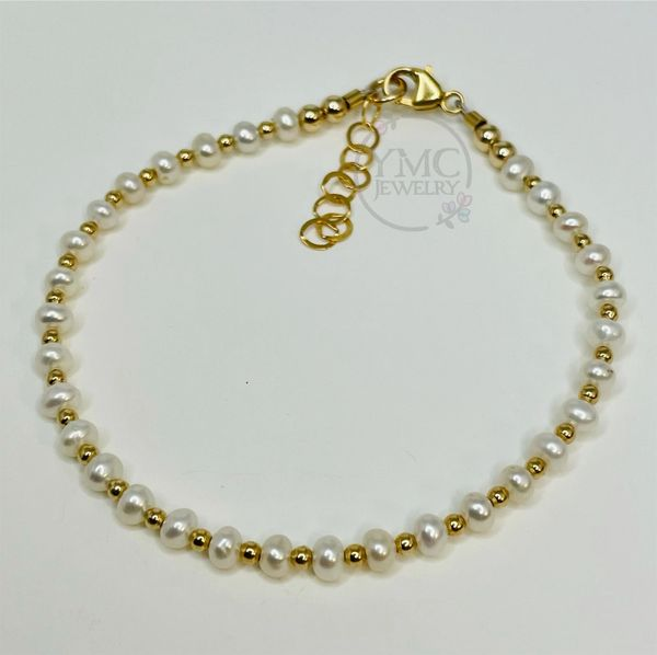 Gold Dainty Layering Stackable Freshwater Pearl Kids Toddler Girls Bracelet