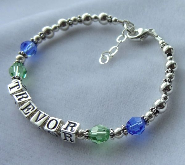 Personalized Sterling Silver and Swarovski Crystal Adult Bracelet, Mother Bracelet, Nana, Grandmother,Name Bracelet, Birthstone