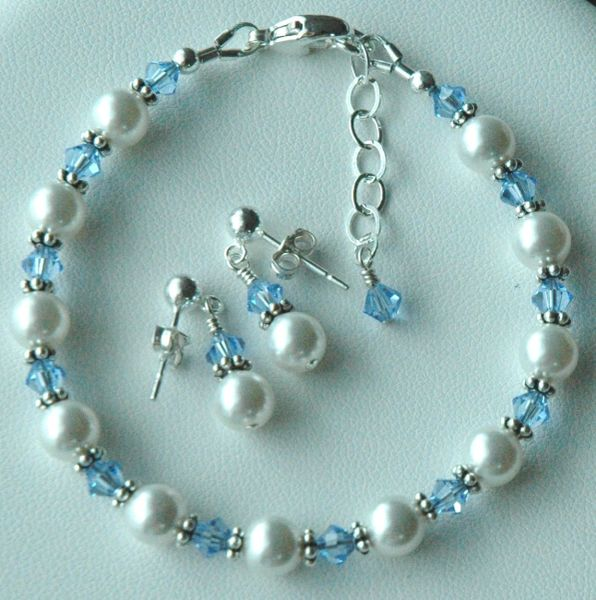 Child Custom Swarovski Crystal Pearl Bracelet and Earrings