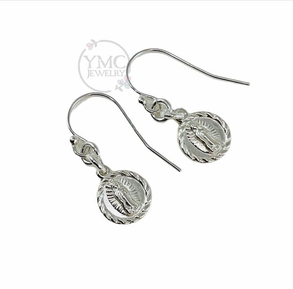 Dainty Petite Religious Lady of Guadalupe Virgin Mary Medal Earrings