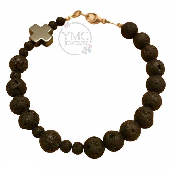Sterling Silver Men's Black Chaplet Rosary Bracelet, Essential Oil Rosary Bracelet
