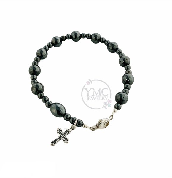 Sterling Silver Men's Black Gray Chaplet Rosary Bracelet,Godfather Bracelet,RCIA Men Bracelet