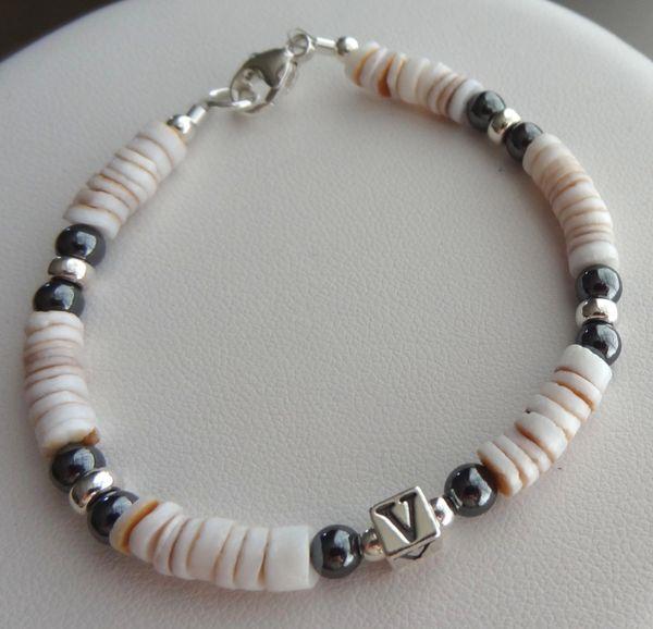 Sterling Silver Shell and Hematite Initial Bracelet, Baby Boy Bracelet, Personalized Bracelet, Baptism, Christening, Boy Bracelet