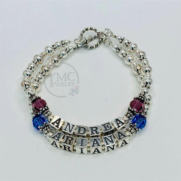 Sterling Silver Beaded Name Bracelet, Personalized Mothers Grandmothers Name Bracelet BMN-14
