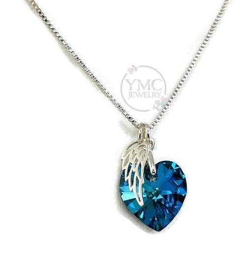 Remembrance Memorial Angel Wing Heart Necklace,Mother's Day Gift,Sympathy Bereavement Gift