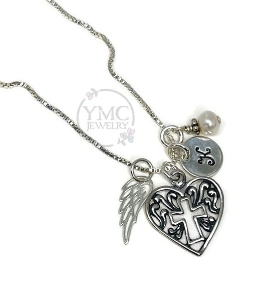 Remembrance Memorial Angel Wing Heart Necklace,Sympathy Bereavement Gift,Loss of Husband Mom Mother Brother Sister Friend