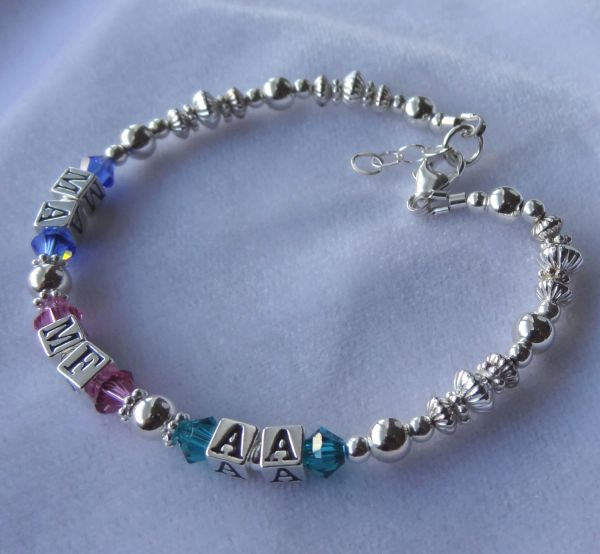 Family Sterling Silver and Swarovski Crystal Adult Bracelet, Mother Bracelet, Nana, Grandmother,Name Bracelet, Birthstone