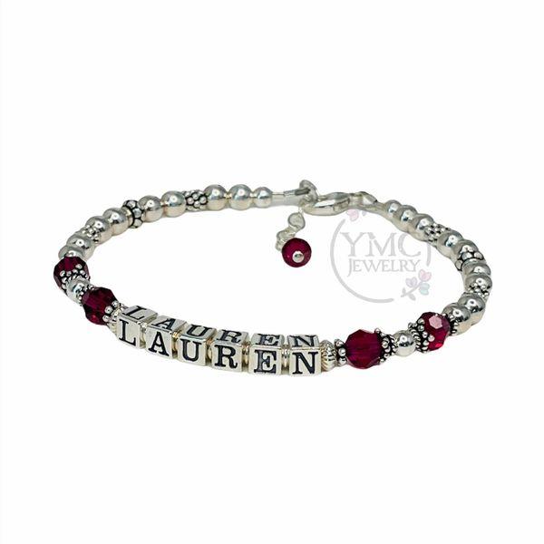 Sterling Silver Personalized Mothers Grandmothers Name Bracelet, Beaded Name Bracelet BMN-15