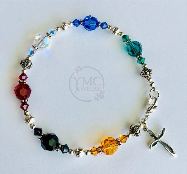 Swarovski Crystal and Sterling Silver Salvation Bracelet, Confirmation Bracelet, First Communion, Godmother Bracelet, Religious Bracelet