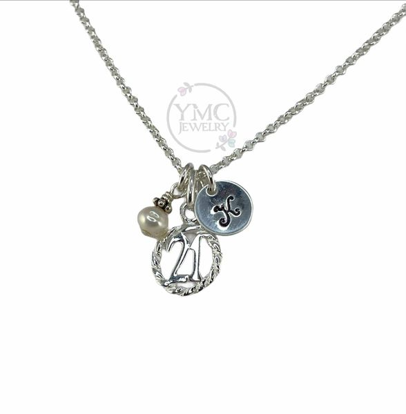 Personalized Sterling Silver 21st Twenty First Birthday Jewelry Gifts, 21st Milestone Necklace