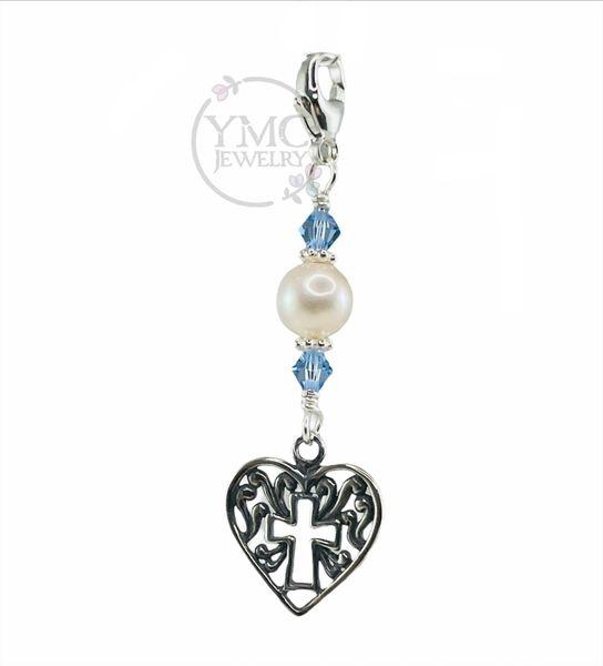 Sterling Heirloom Something Blue Keepsake Swarovski Crystal Blue Cross Charm,Wedding Cross Ring Bouquet Charm