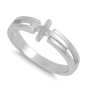 Sterling Silver Cross Boy Ring, First Communion Ring, Confirmation Ring, Cross Ring, Religiuos Jewelry, Child's Ring, Boy Cross Ring