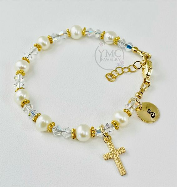Real Pearl and Gold Initial Cross Bracelet,Gold Baptism Christening First Communion Bracelet