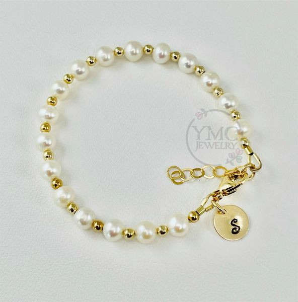 Gold Real Pearl Initial Stackable Toddler Bracelet,Gold Layering Mom and Me Bracelet