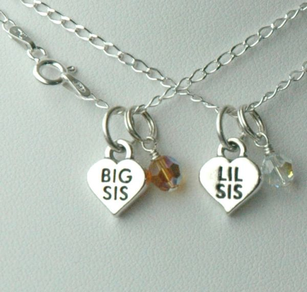 Sterling Silver Big Sister / Lil Sister Birthstone Child Girl Necklaces - Set of Two