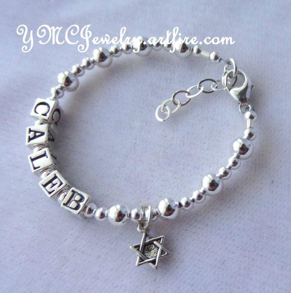 Solid Sterling Silver Baby Boy/Girl Name Personalized Bracelet, Baptism Bracelet, Christening Bracelet, Baby Girl Bracelet,Baby Boy Bracelet