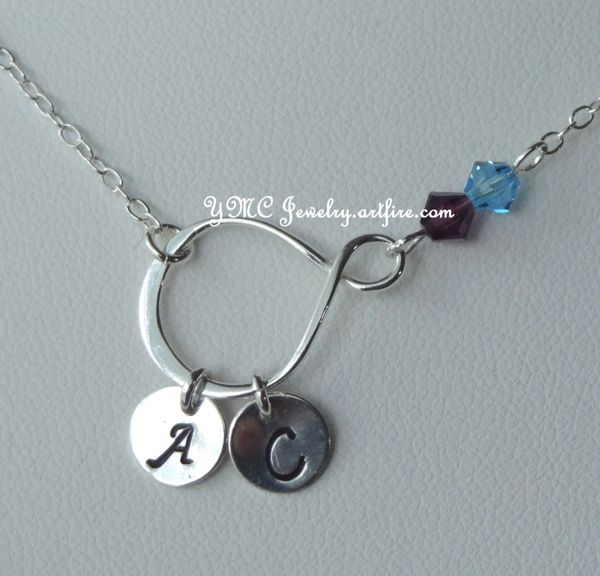 Sterling Silver Infinity, Initial, Birthstone Necklace, Family Necklace, Family Birthstone Infinity Necklace, Infinity Necklace, Grandma