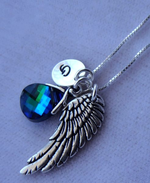 Angel Necklace, Memorial Necklace, Guardian Angel Necklace, Angel Initial Necklace