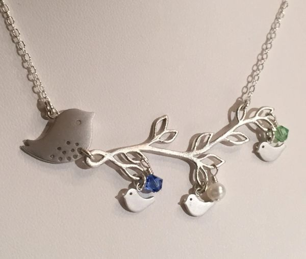 Mommy and Babies Bird Birthstone Family in a Branch Necklace, Branch Necklace, Family Necklace,Mom Necklace, Grandma Neckalce, Baby Shower
