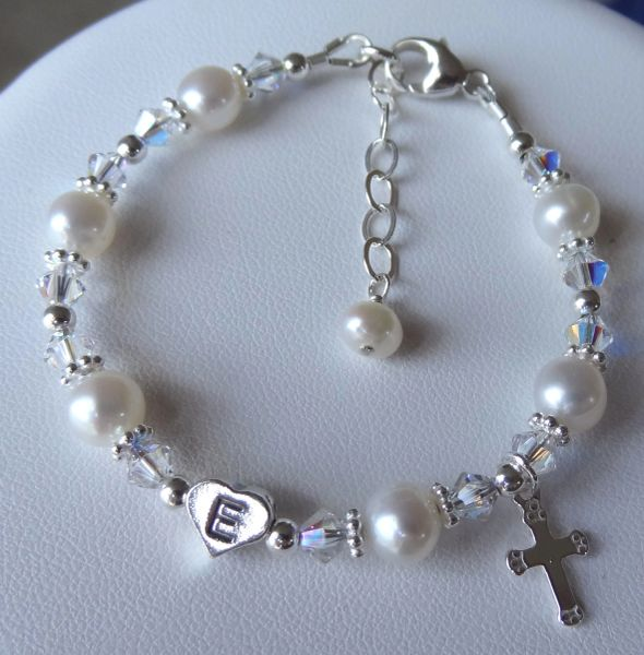 Baptism Initial Heart and Cross Freshwater Pearl Children Bracelet, First Communion, Confirmation