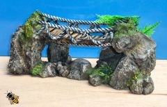 Aquarium Ornament Rock Rope Bridge Fish Tank Rock Decoration