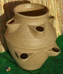 Large Garden Strawberry Planter Flower Pot Patio Sandstone colour
