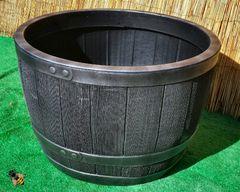 Garden Planter Wood Effect Plastic Half Barrel Tub 61cm