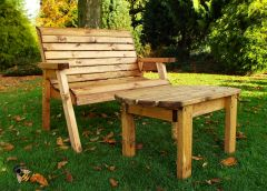 Garden Bench 2 Seater and Coffee Table Chunky Wooden Furniture Hand Made