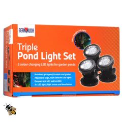 Garden Underwater Pond Lights 3 LED Spot Light Sensor Colour Changing