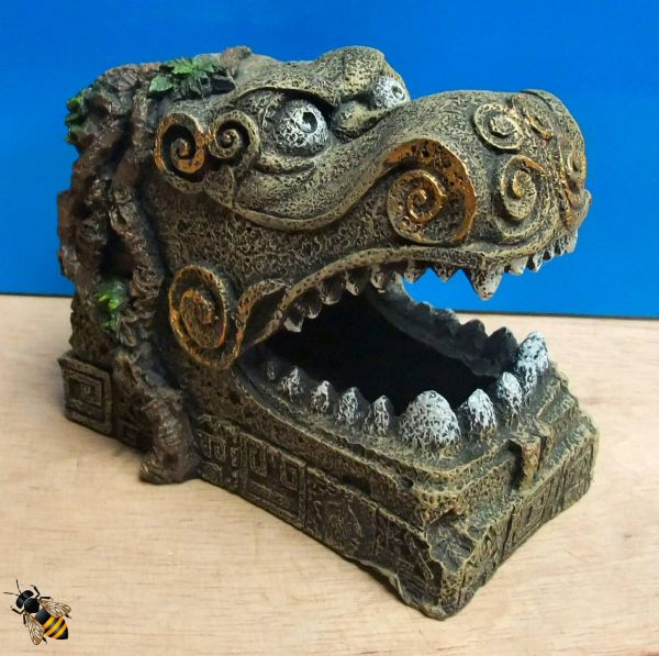 Aquarium Decoration Serpent Head Oriental Hide Cave Fish Tank Ornament