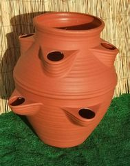 Large Garden Strawberry Planter Flower Pot Patio Terracotta colour