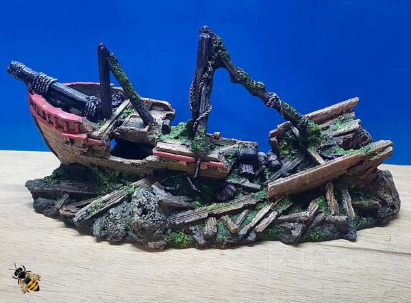 Galleon Ship Wreck on Rocks Aquarium Ornament Fish Bowl Tank